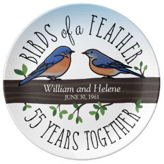 55th Wedding Anniversary, Bluebirds of a Feather Porcelain Plates