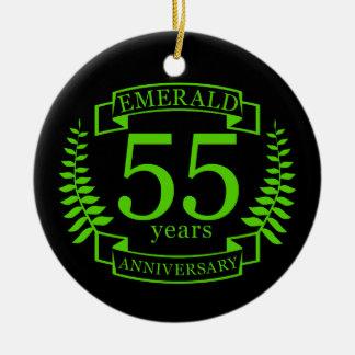 55th Wedding ANNIVERSARY EMERALD Ceramic Ornament