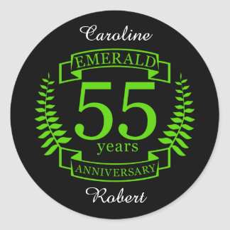 55th Wedding ANNIVERSARY EMERALD Classic Round Sticker