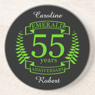 55th Wedding ANNIVERSARY EMERALD Coaster