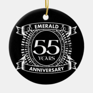 55th wedding anniversary emerald crest ceramic ornament