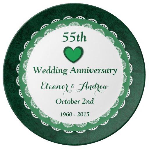 Th wedding anniversary emerald green lace w d a zazzle