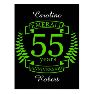 55th Wedding ANNIVERSARY EMERALD Postcard