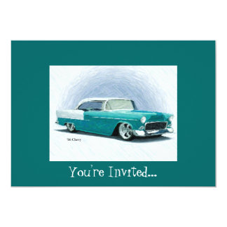 '56 Chevy - Teal Customizable Invitations