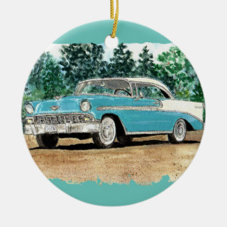 56 Chevy Watercolor Ceramic Ornament