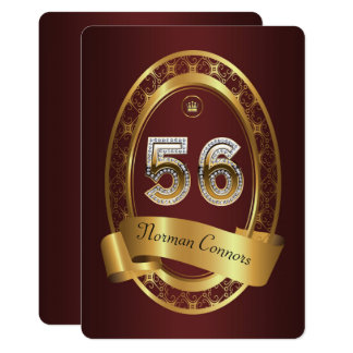 56th,birthday party woman man,elegant color card
