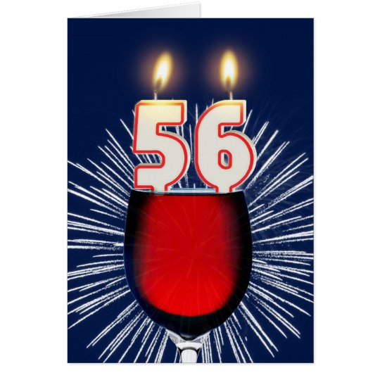 56th Birthday with wine and candles Card
