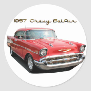 STICKER POSTCARD 57 CHEVY CUT-OUT 1957 CHEVROLET