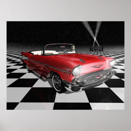 '57 Chevy sur le damier Posters