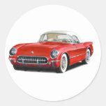 57 Corvette Round Stickers