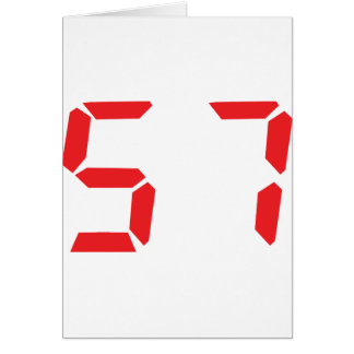 57 fifty-seven red alarm clock digital number card