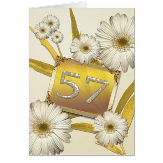 57th Birthday card with daisies.