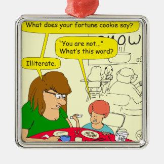 581 illiterate cartoon Silver-Colored square ornament