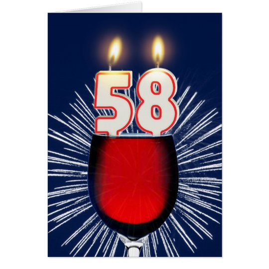 58th Birthday with wine and candles Card