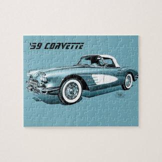 59 Corvette Blue Background Puzzle