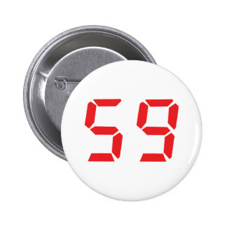59 fifty-nine red alarm clock digital number 2 inch round button