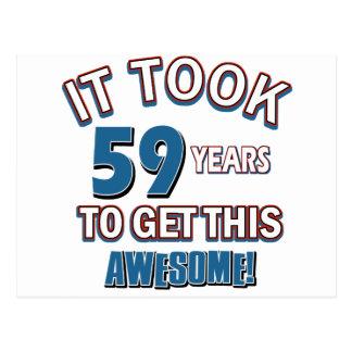 59 year old birthday designs postcard