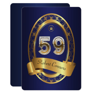59th,birthday party woman man,elegant color card