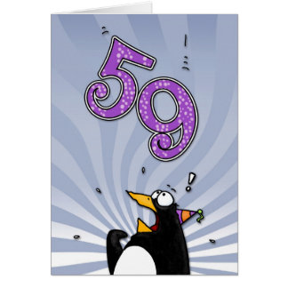 59th Birthday - Penguin Surprise Card