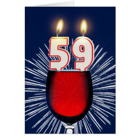 59th Birthday with wine and candles Card