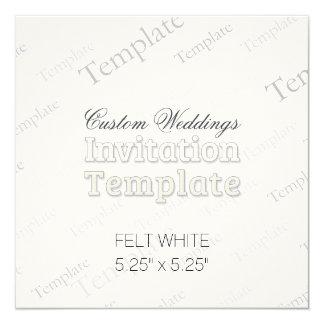 "5.25"" x 5.25"" Felt White Custom Wedding Invitation"