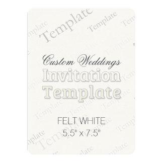 "5.5"" x 7.5"" Felt White Custom Wedding Invitation"