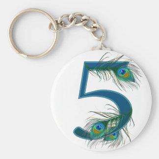 5/5ème/5èmes anniversaire/numéro 5 porte-clé rond