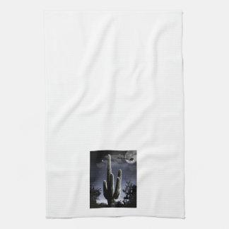 5 Armed Desert Saguaro in the Moonlight Kitchen Towel
