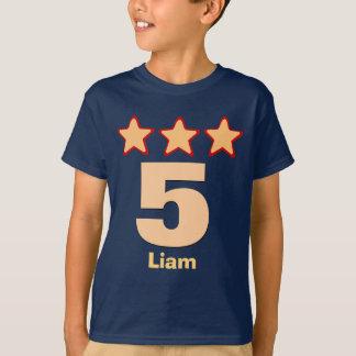 5 Birthday Boy Stars Big Number Custom Name V03H T-Shirt
