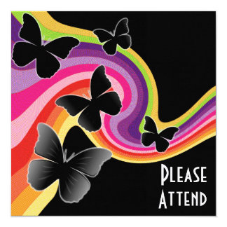 "5 Black Butterflies On Swirly Rainbow 5.25"" Square Invitation Card"