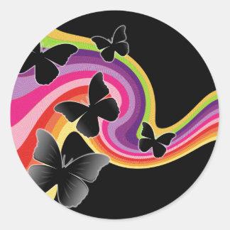 5 Black Butterflies On Swirly Rainbow Classic Round Sticker