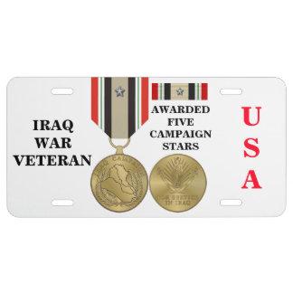 5 CAMPAIGN STARS IRAQ WAR VETERAN LICENSE PLATE