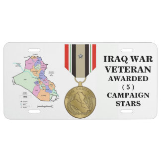 5 CAMPAIGN STARS IRAQ WAR VETERAN LICENSE PLATE