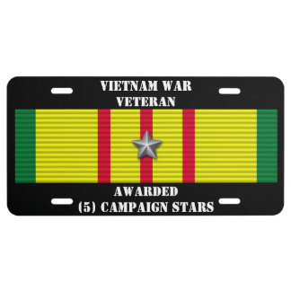 5 CAMPAIGN STARS VIETNAM WAR VETERAN LICENSE PLATE