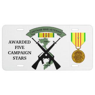 5 CAMPAIGN STARS VIETNAM WAR VETERAN LICENSE PLATE
