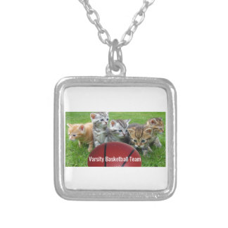 5 Cats Form a Basketball Team Silver Plated Necklace