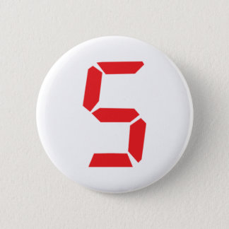 5 five  red alarm clock digital number 2 inch round button