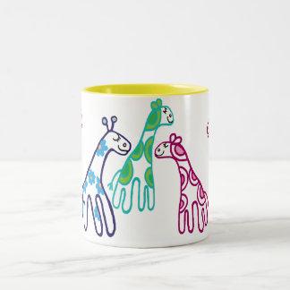 5 Giraffes Two-Tone Coffee Mug