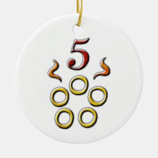 5 Golden Rings Ceramic Ornament