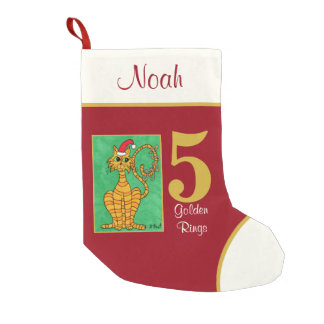 5 Golden Rings Cute Animals Custom Name Small Christmas Stocking