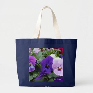 5 Lavender Purple Blue Pansy Large Tote Bag