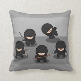5 Little Cartoon Ninjas Throw Pillow