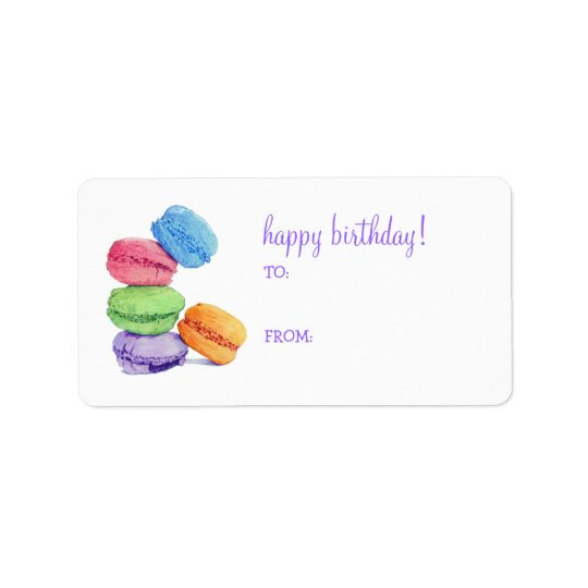 5 Macaroons Birthday Gift Tag Label