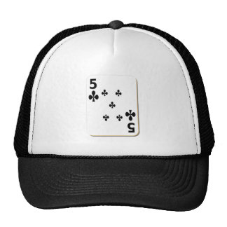 5 of Clubs Playing Card Trucker Hat