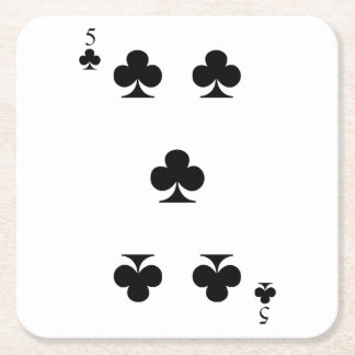 5 of Clubs Square Paper Coaster