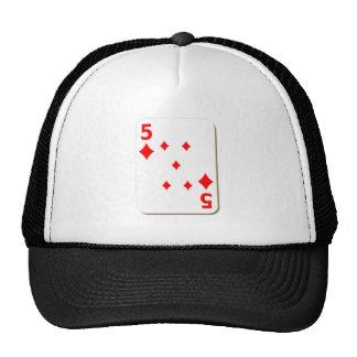5 of Diamonds Playing Card Trucker Hat