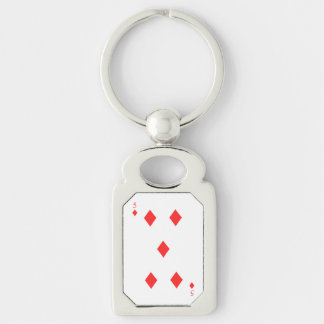 5 of Diamonds Silver-Colored Rectangle Keychain