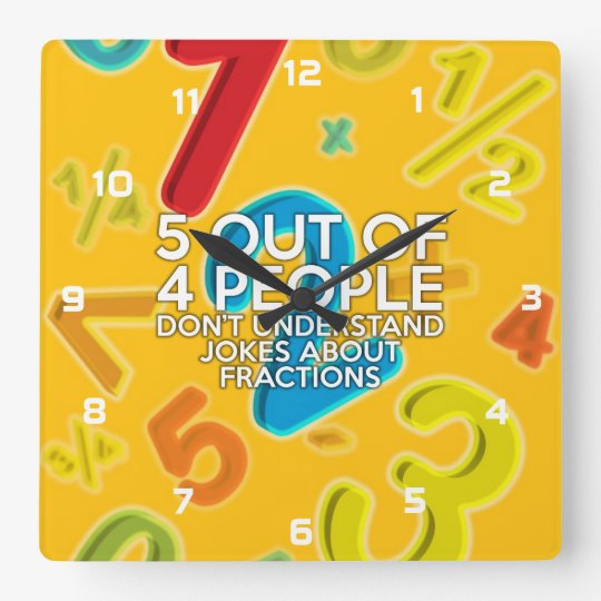 5 OUT OF 4 PEOPLE SQUARE WALL CLOCK