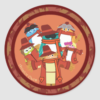 5 Owls and a Scarecrow Round Sticker