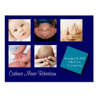 5 Photo Birth Announcement Postcard